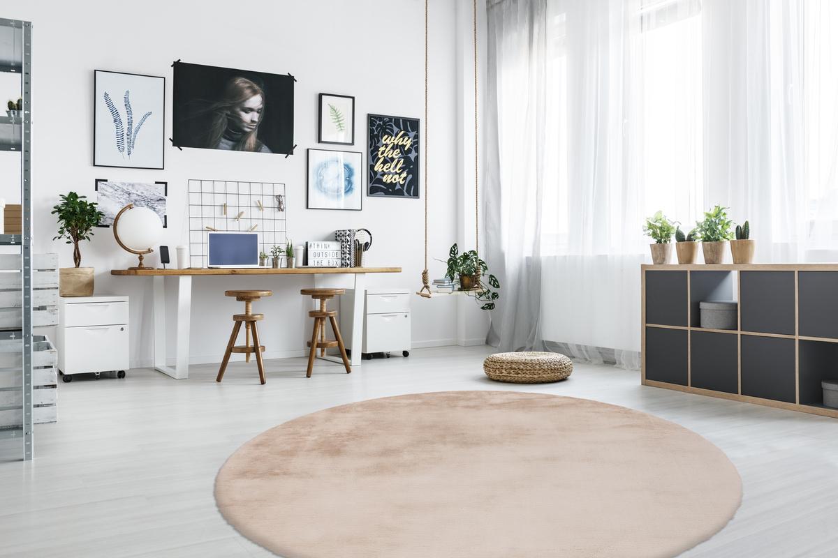 Arte Espina Shaggy Rug Fur Look Soft Cosy Beige Grey Pink