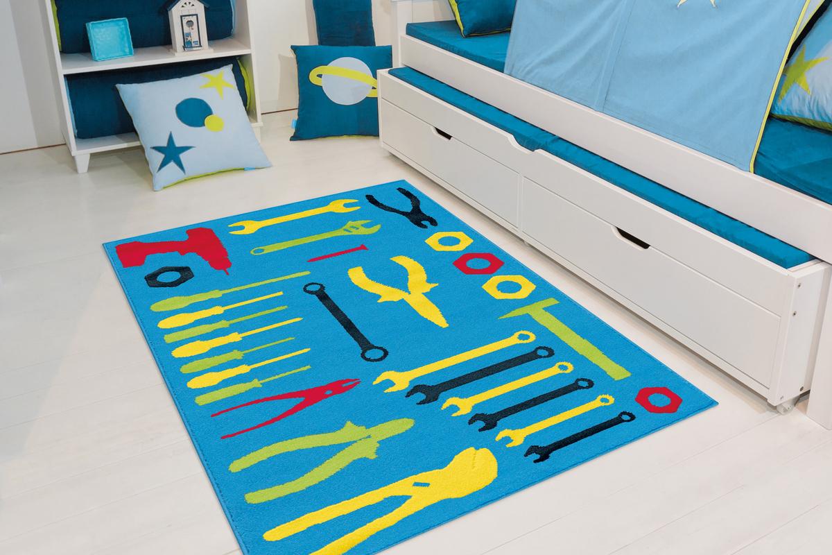 Arte Espina Kinderteppich Kinderzimmer Teppich Werkzeug Motiv Bunt Blau Gelb Rot