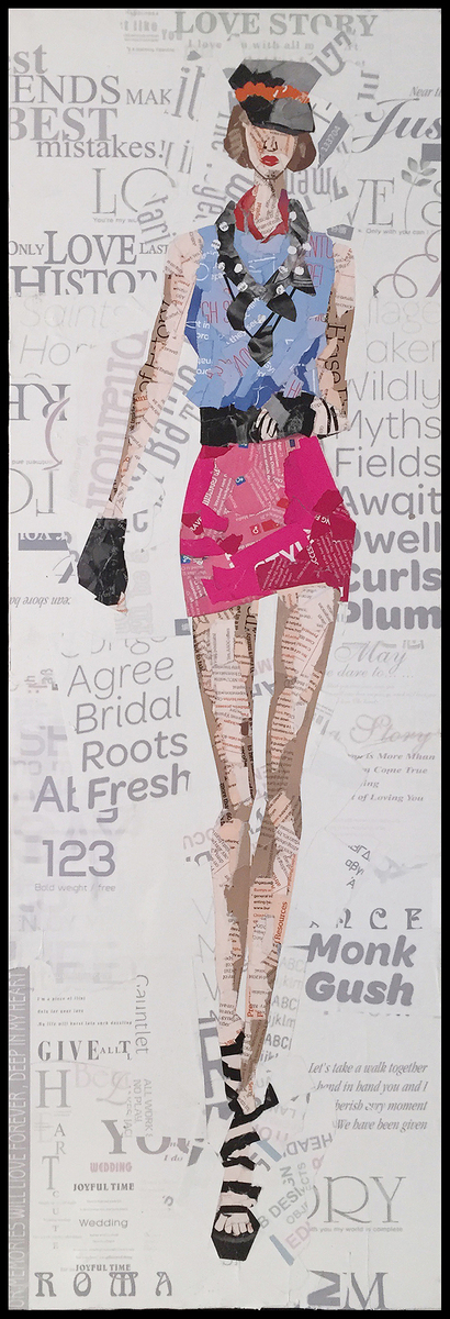Papier Collage Catwalk II 32cm x 92cm (3-teilig)