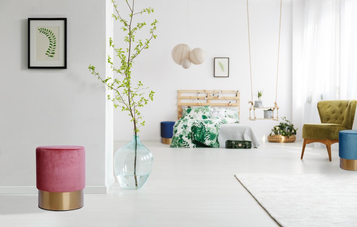 Velluto sgabello design pouf imbottito oro rosa antico fucsia ebay