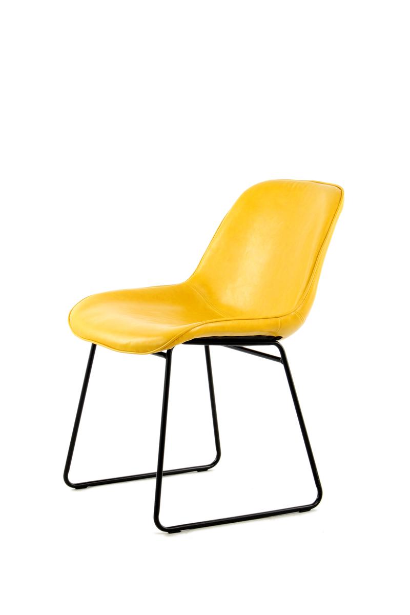 Stuhl Industrial Leder Look Schalenstuhl Retro