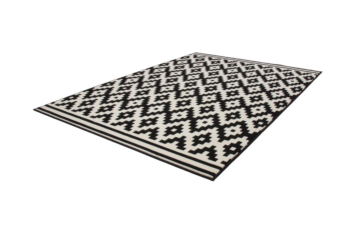 teppich flachflor arabesque scandic design modern teppiche schwarz wei. Black Bedroom Furniture Sets. Home Design Ideas