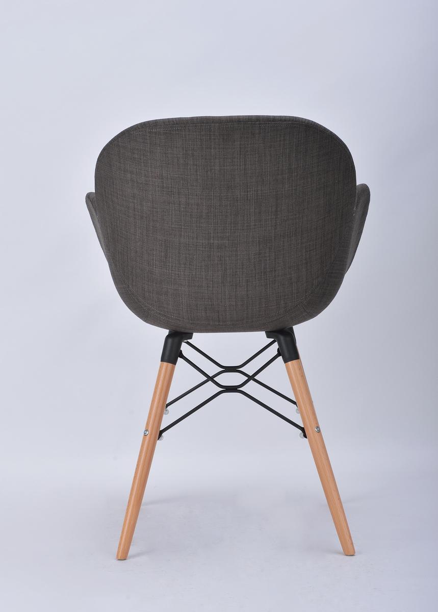 stuhl designer st hle stoffebezug dunkelgrau stoff sitzfl che stuhlbeine holz ebay. Black Bedroom Furniture Sets. Home Design Ideas