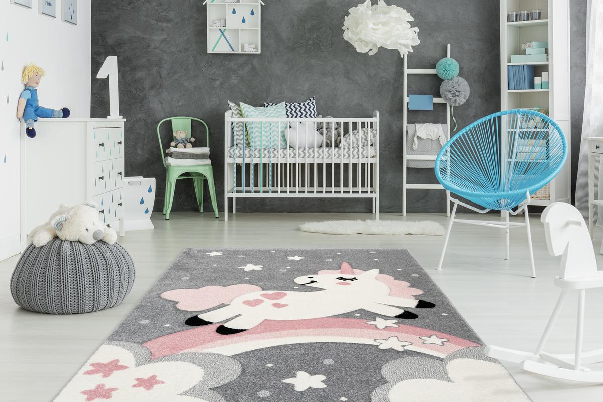 Einhorn teppich kinderteppich kinderzimmer pastell rosa - Kinderzimmer pastell ...
