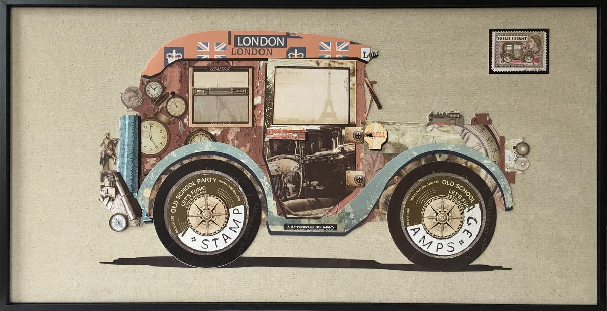 Papier Collage Oldtimer 82cm x 42cm