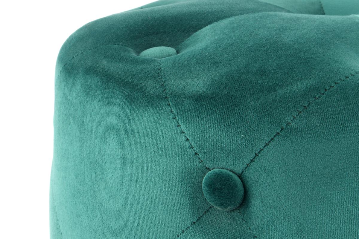 Details zu Pouf Sitzhocker Sitzpouf Rund Gesteppt Samt Gold Dekoration Ø 40 cm Grün