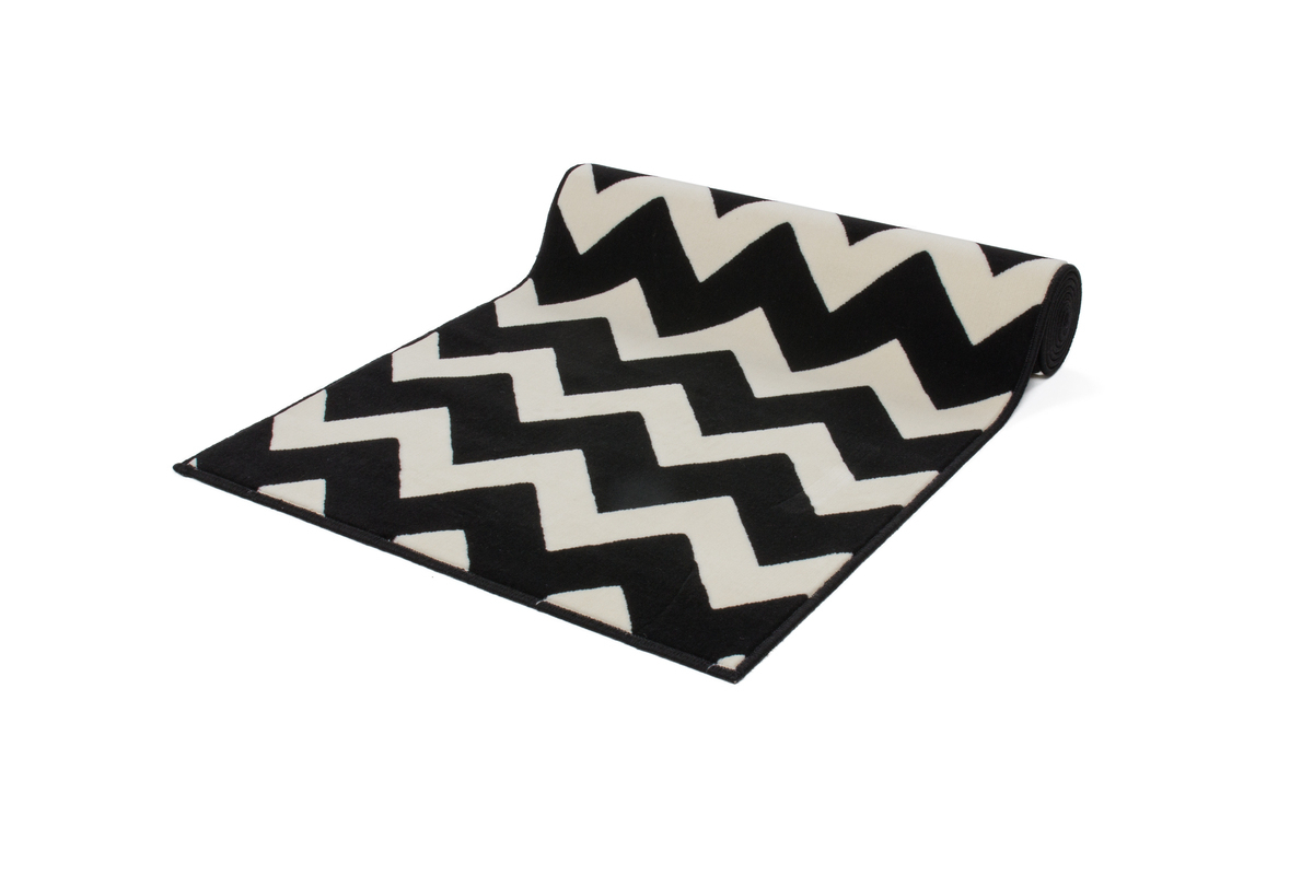 Flachflor Teppich Zick Zack Muster Schwarz Weiß Creme Jute