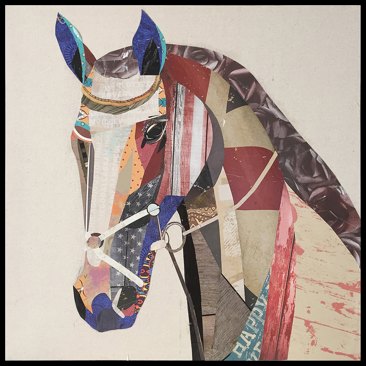 Papier Collage Horse 82cm x 82cm